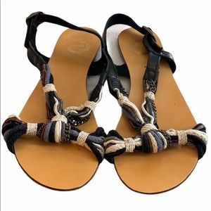 Urban Outfitters Ecote Black Rope & Chain Sandals